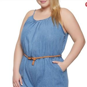 Chesley Other - Plus Size Braided Belt Denim Romper And Bracelet